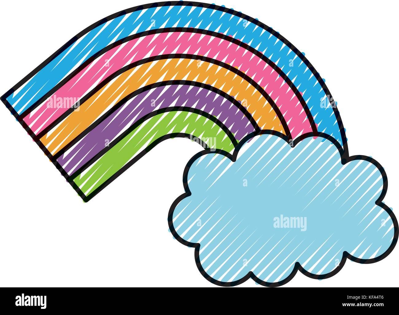 Symbole de l'arc-en-ciel et nuages dans le ciel Photo Stock