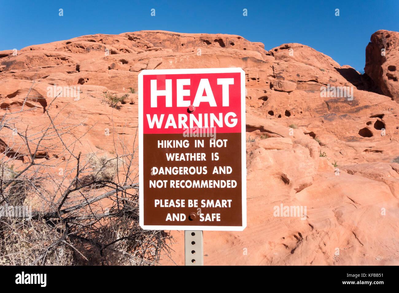 Vallée de Feu d'avertissement de chaleur Nevada Park Photo Stock