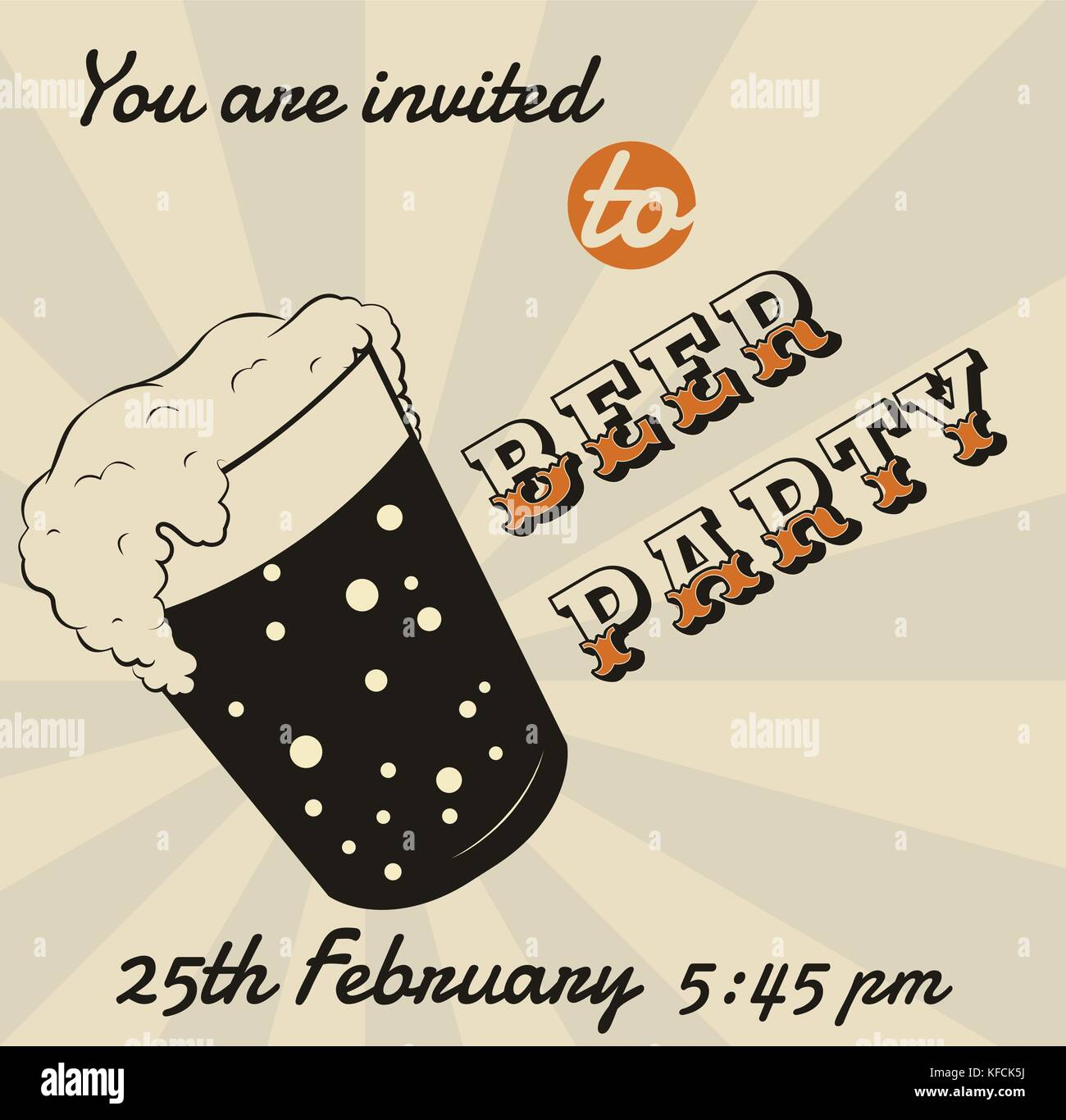 Vector retro verre de bière ou de carte d'invitation modèle d'affiche de l'événement. Photo Stock