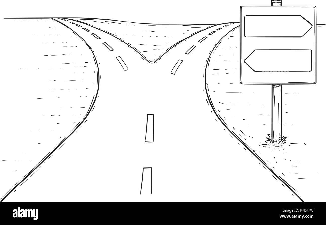 Dessin De Route dessin vectoriel de fourchette dans la route avec décision vide vide