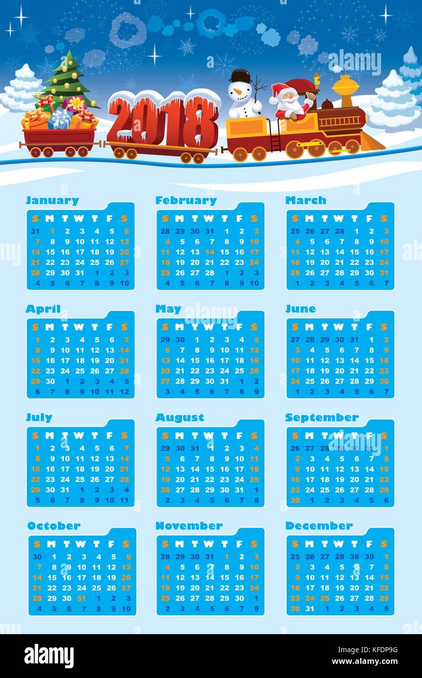 calendrier 2018 pere noel Nouveau calendrier 2018 et le père Noël dans un petit train avec  calendrier 2018 pere noel