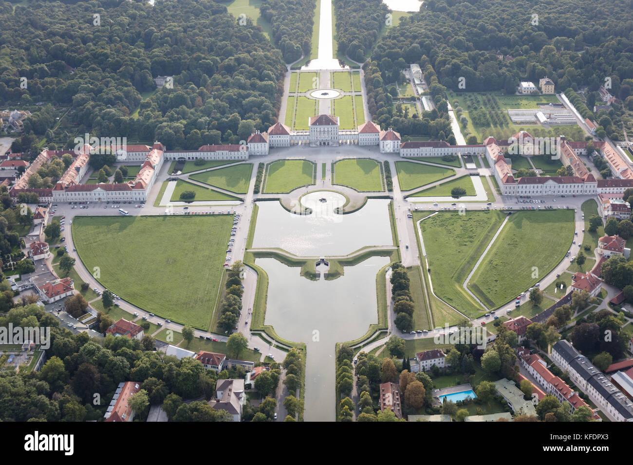 Vue aérienne du château Nymphenburg (Schloss Nymphenburg), Munich, Bavière, Allemagne Photo Stock