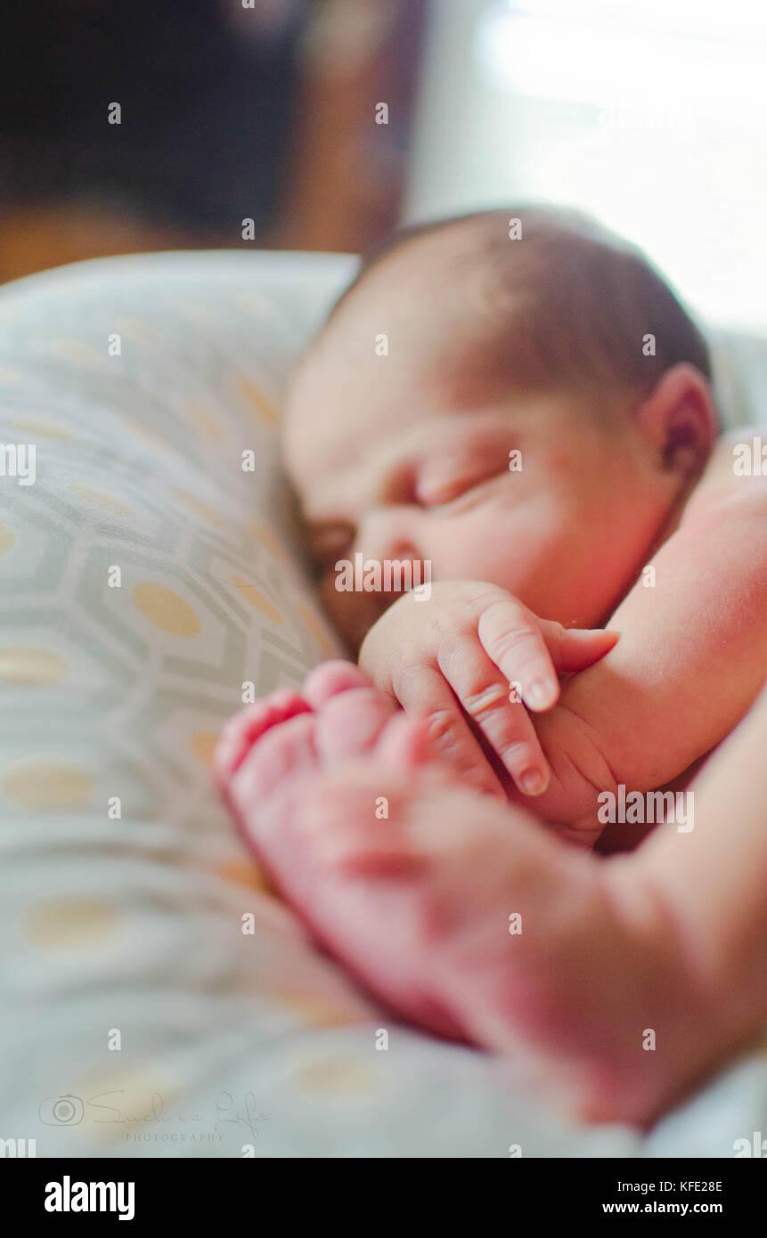 Nouveau-né humain bébé endormi sur un oreiller Photo Stock