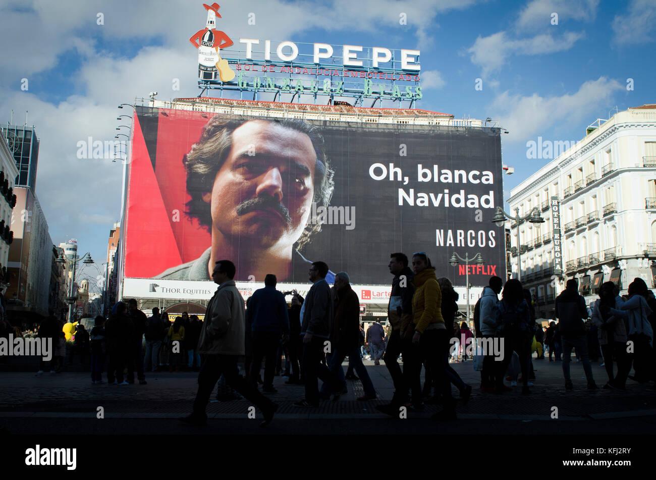 Publicité netflix à Madrid Photo Stock