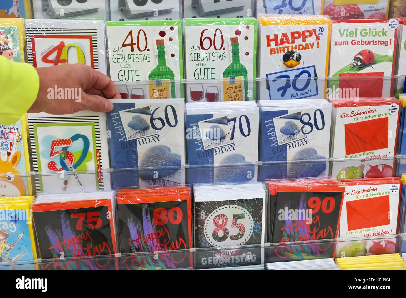 Cartes de souhaits dans un magasin Photo Stock