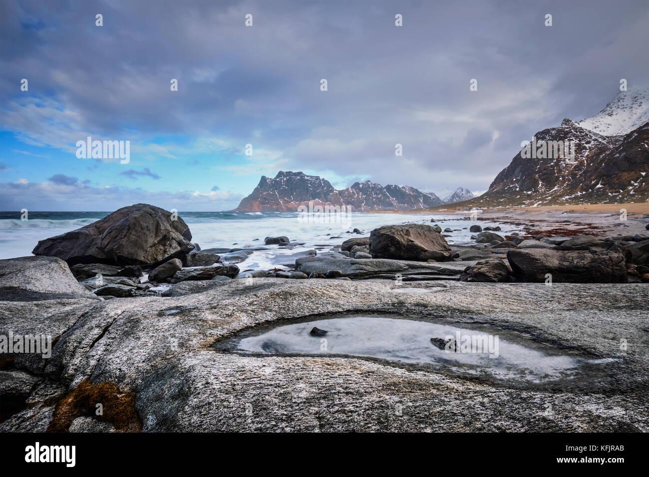 Plage de fjord en Norvège Photo Stock