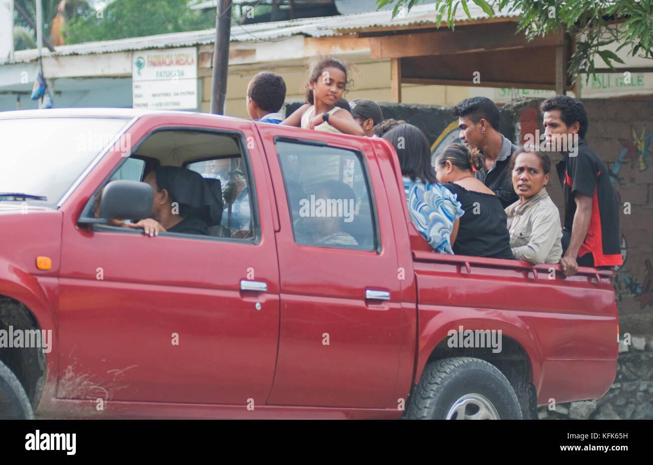 Camion chargé avec passagers, Dili, Timor-Leste (Timor oriental) Banque D'Images