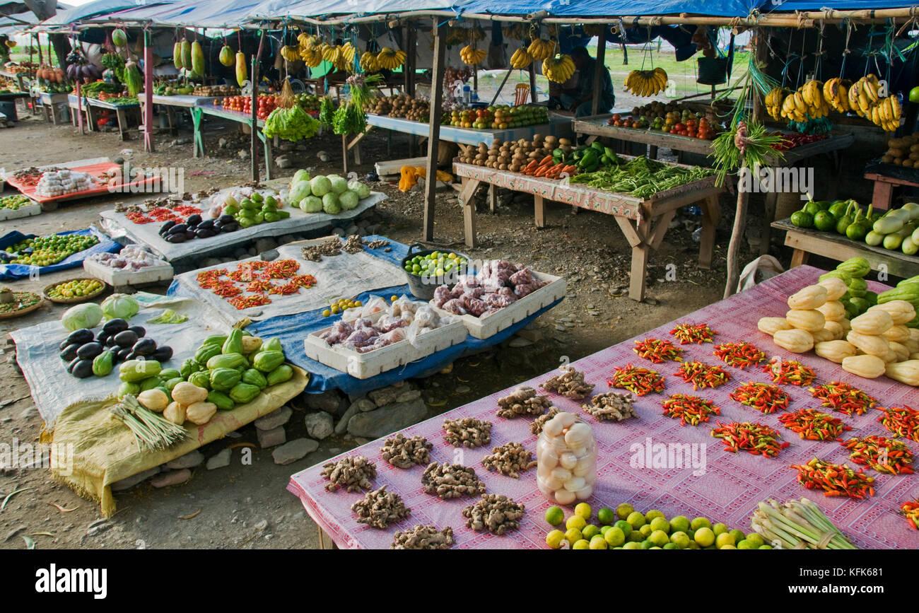 Marché de légumes, à Dili, Timor-Leste (Timor oriental) Banque D'Images