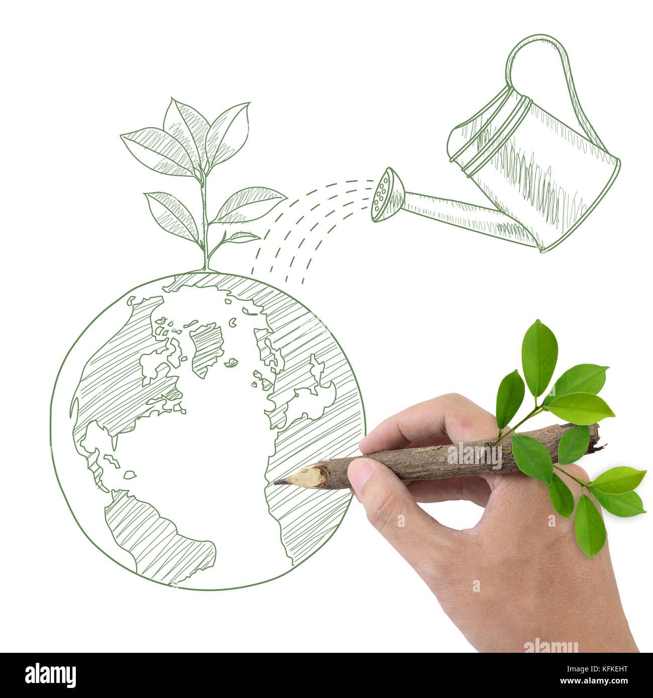 Dessin à La Main Des Hommes Globe Avec Plante Verte Et L