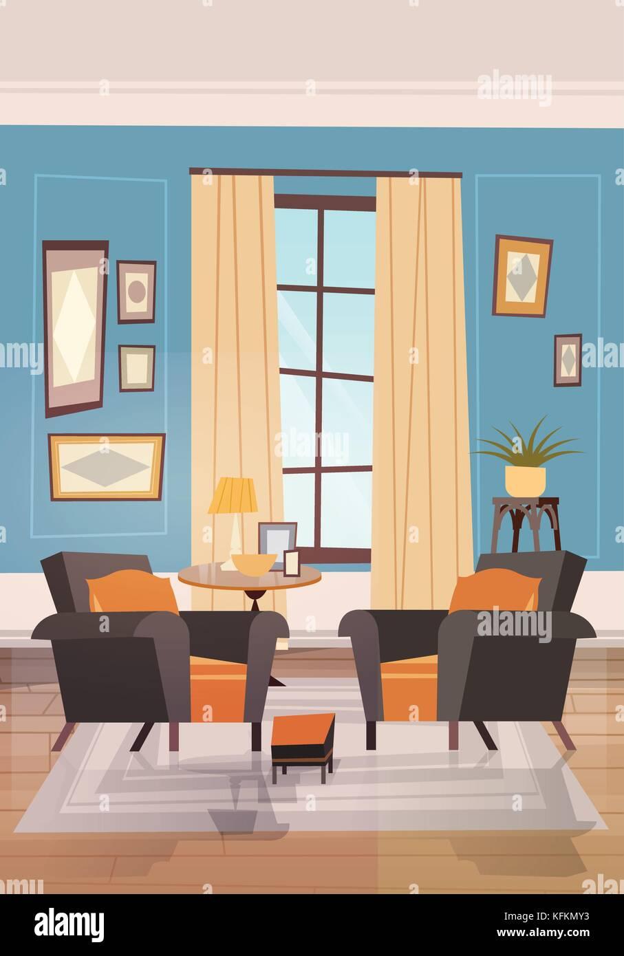 Salon confortable avec des meubles modernes, des fauteuils près de ...