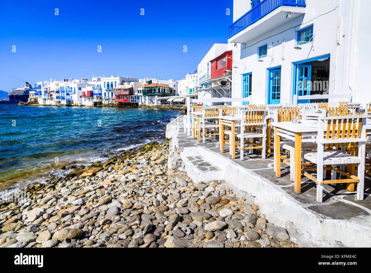 La petite Venise de Mykonos - maisons au bord de l'eau, considéré comme l'un des endroits les Photo Stock