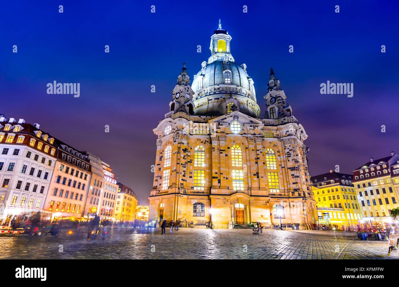 Dresde, Allemagne. Frauenkirche, ville de Dresde, centre historique et culturel de l'Etat libre de Saxe en Europe. Photo Stock