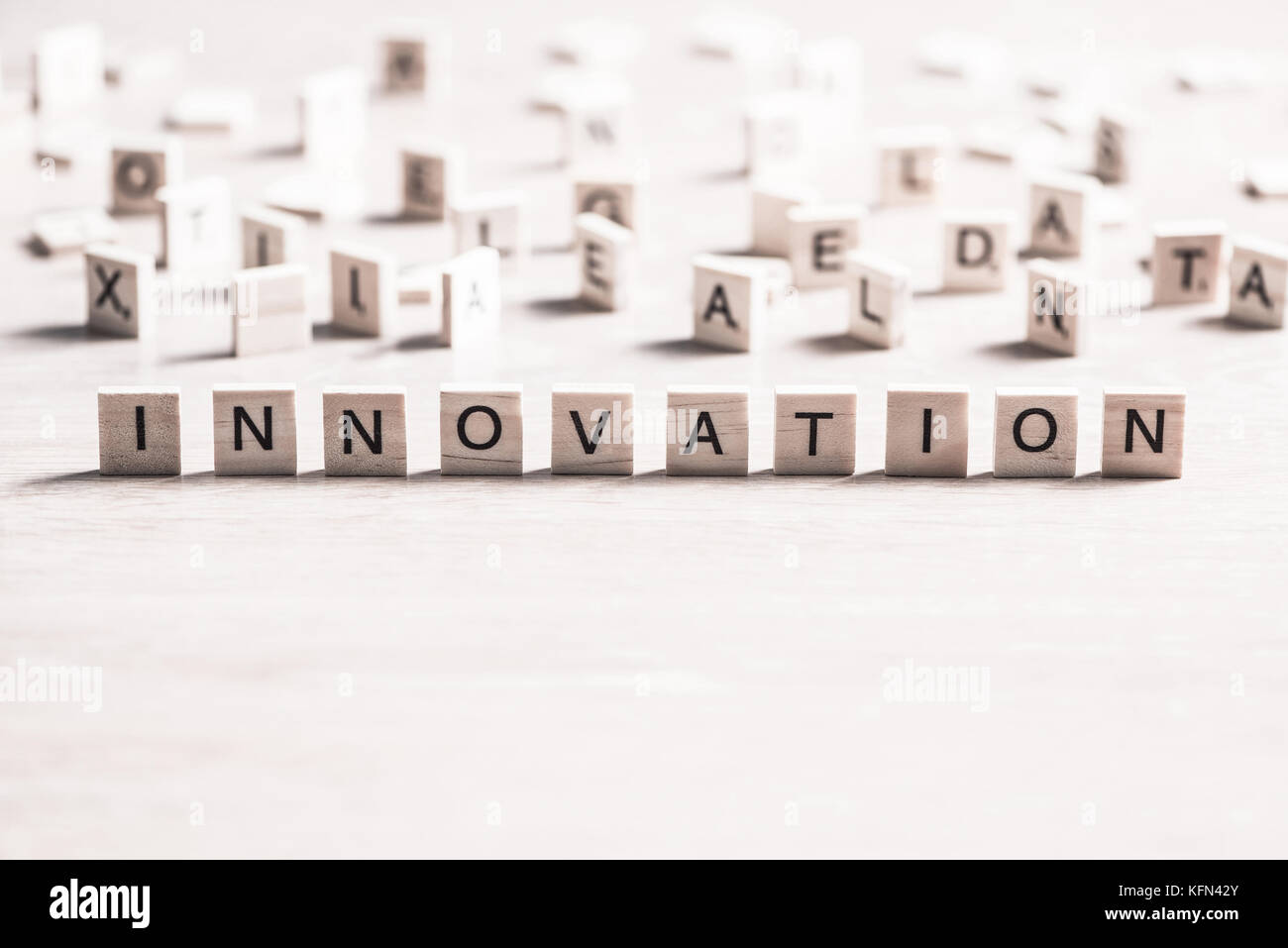 L'innovation mot scrabble Photo Stock