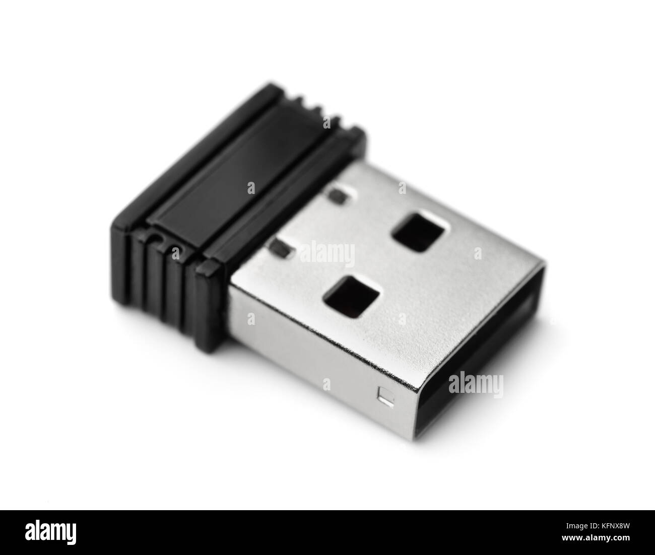 Mini dongle usb wifi isolated on white Photo Stock