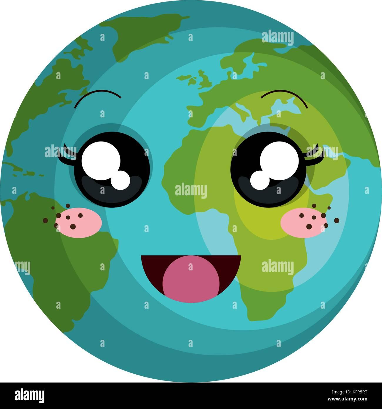 La Planète Terre Kawaii Character Vector Illustration Design
