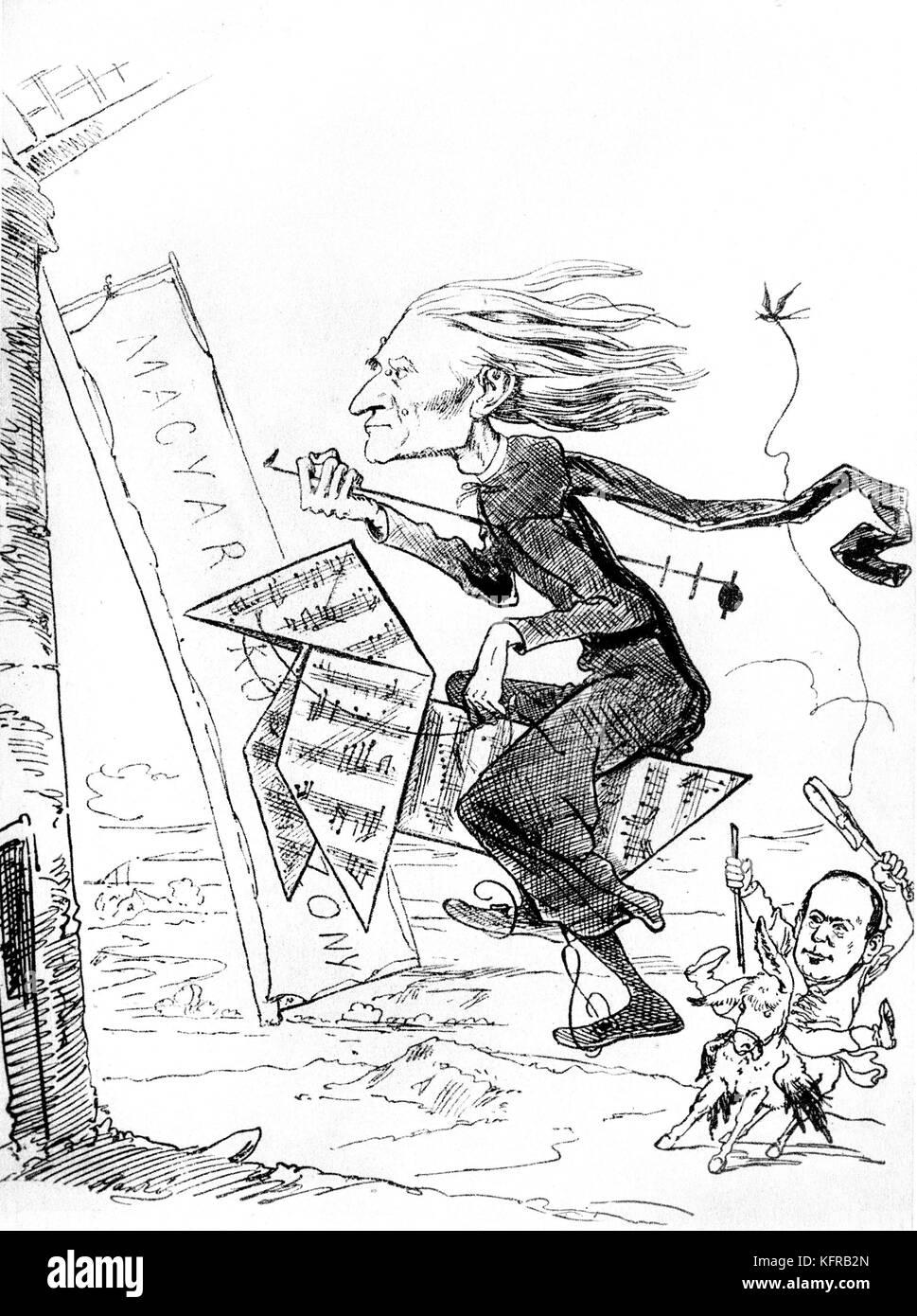 Franz Liszt - caricature, moulins à vent, par Janko, publié dans Borsszem Janko, 18 décembre 1870. Liszt comme Don Banque D'Images