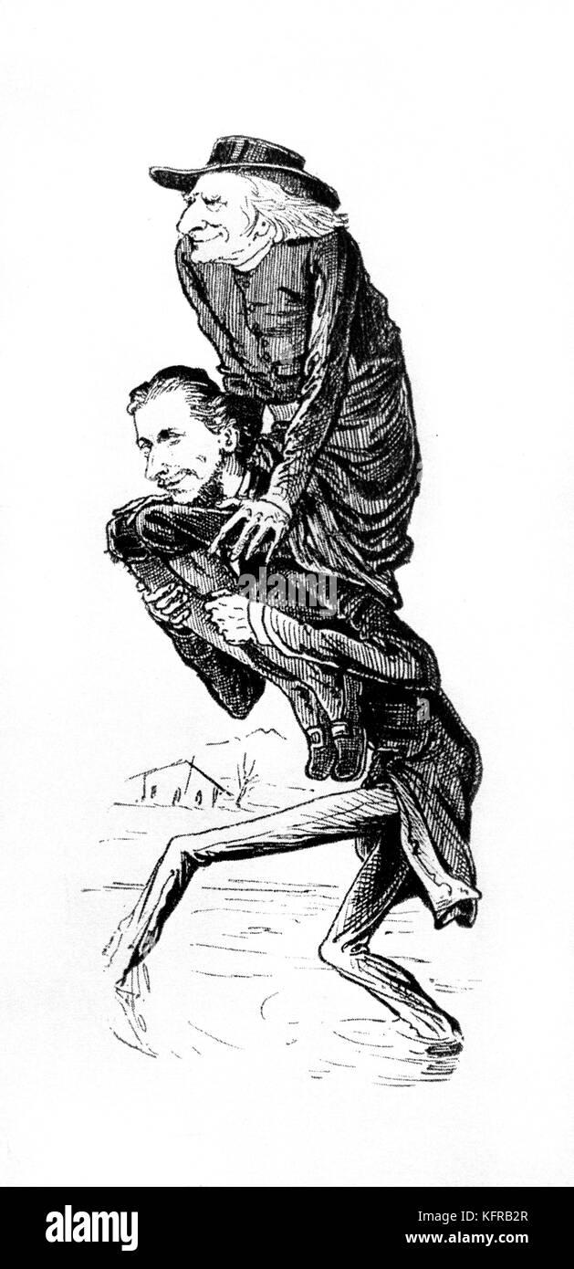 Franz Liszt - caricature. Publié dans le Borsszem Janko, 5 mars 1876. Des scènes crues - sous-titre suivant: ' Banque D'Images