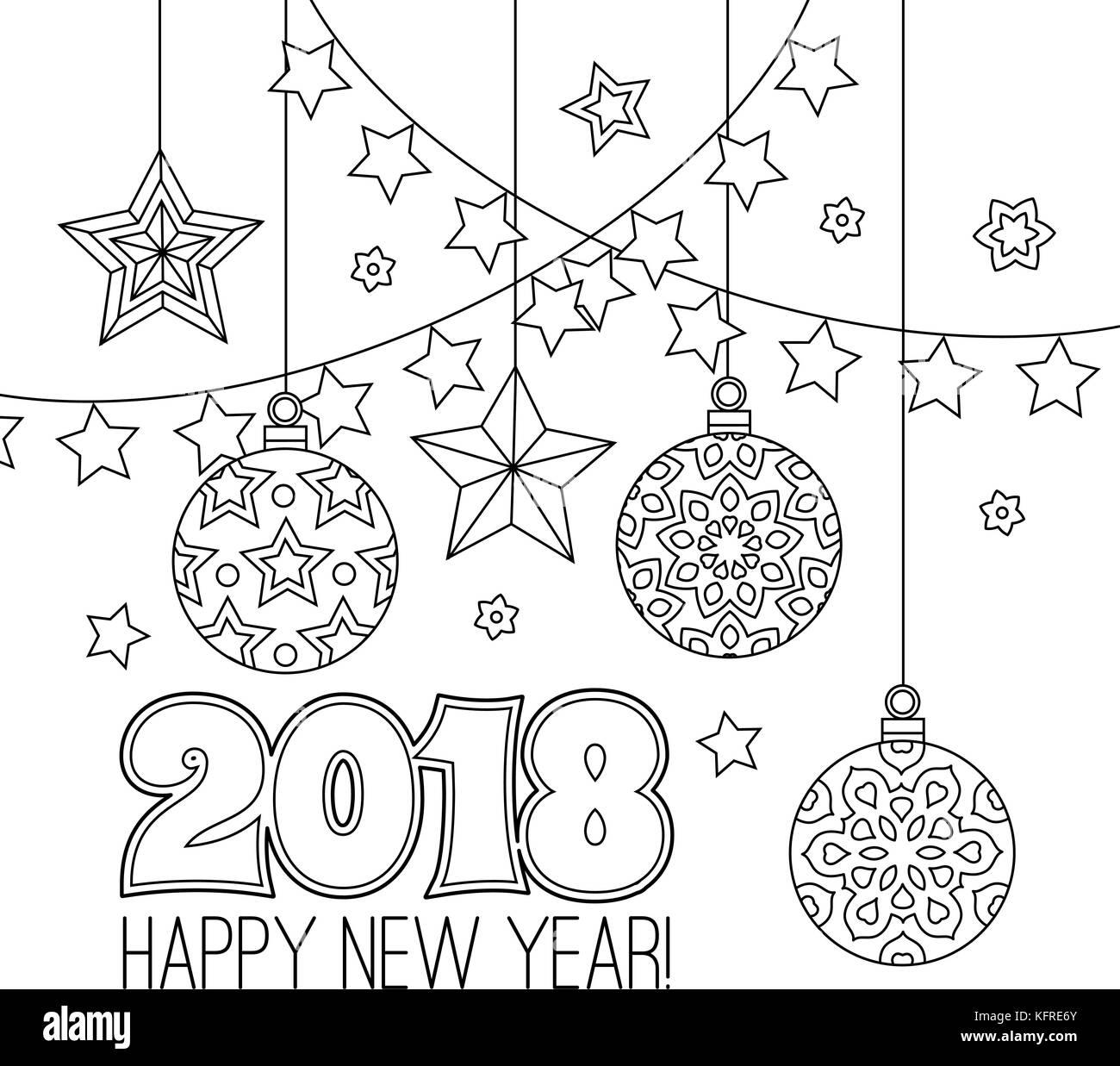 Nouvelle Annee Carte De Felicitations Avec Les Chiffres 2018 Boules