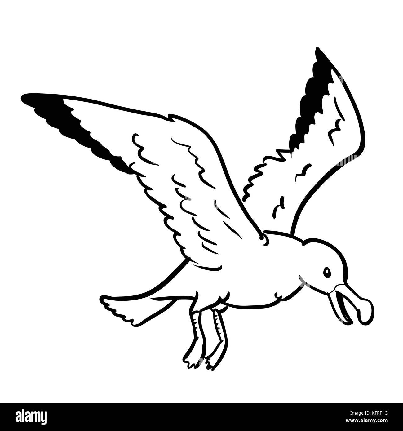 Dessin Animé Gull Isolé Isolé Sur Fond Blanc Noir Et Blanc