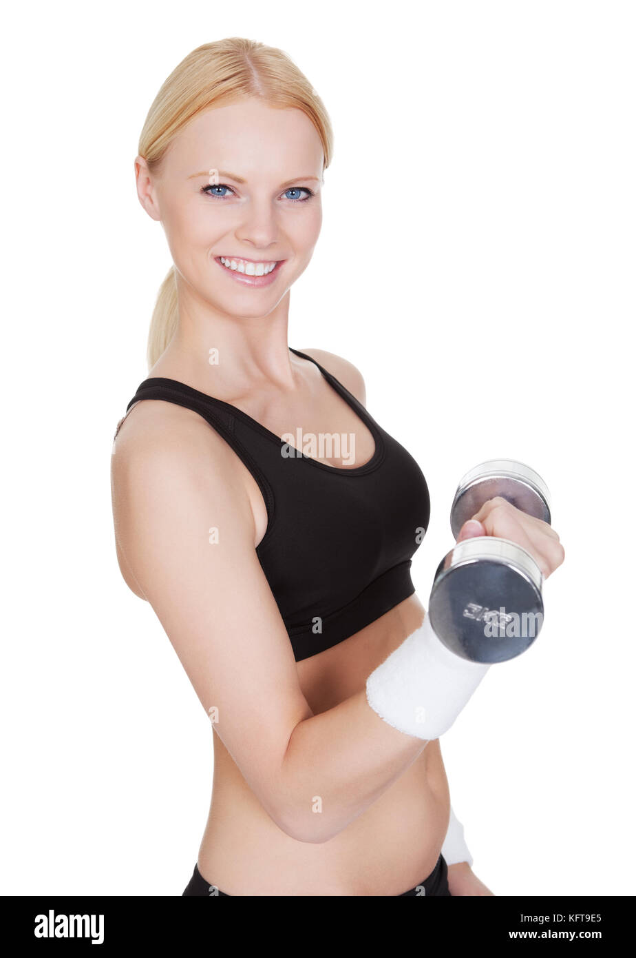 Belle jeune femme fitness faisant la formation de poids. isolated on white Photo Stock