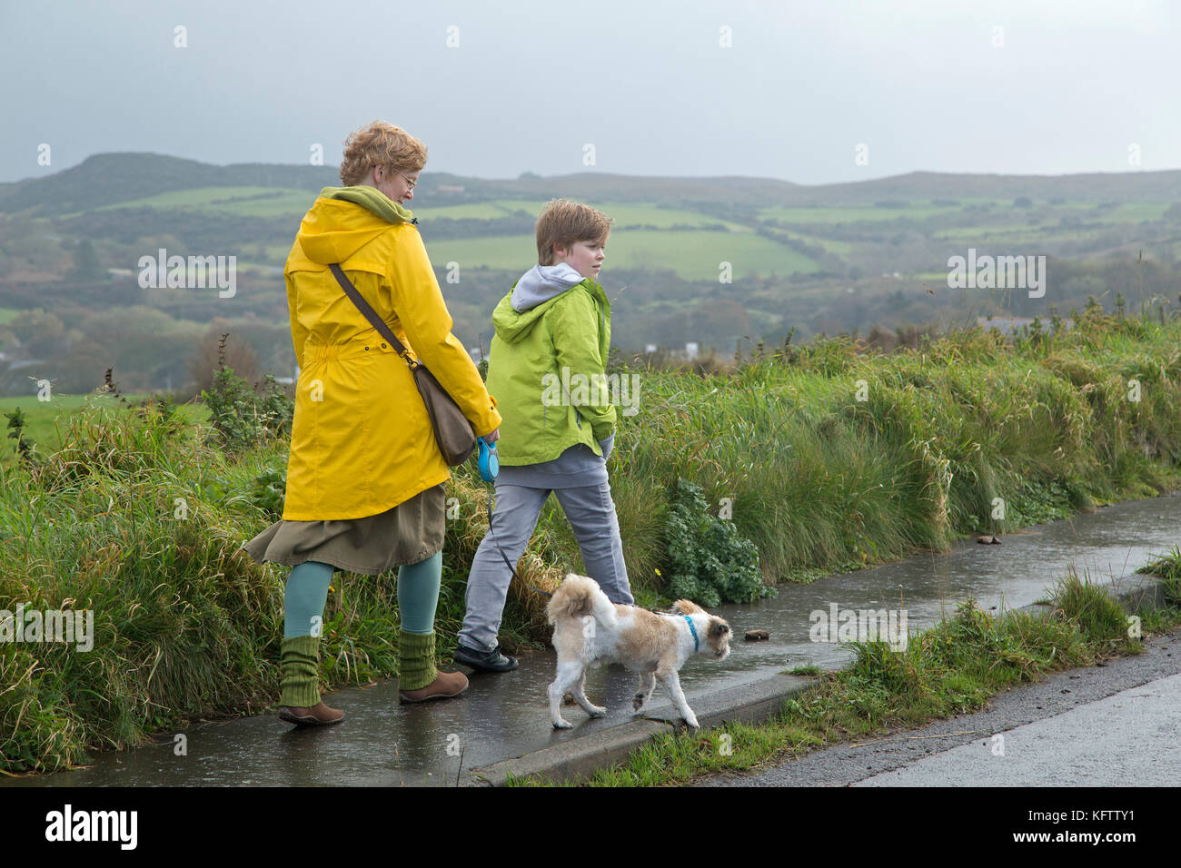Family walking dog, Ballintoy, co Antrim, en Irlande du Nord Photo Stock