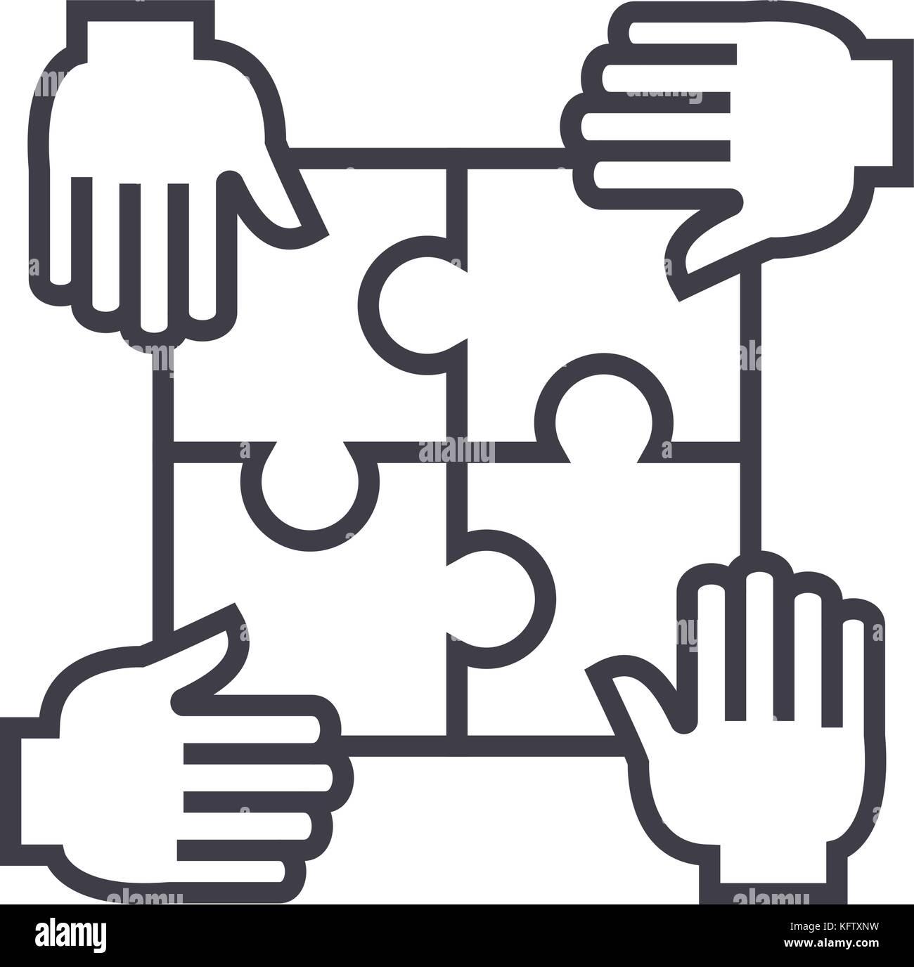 Casse-tête avec quatre mains,partenariat ligne vectorielle, l'icône de  signe, l'illustration en arrière-plan, coups modifiable Image Vectorielle  Stock - Alamy