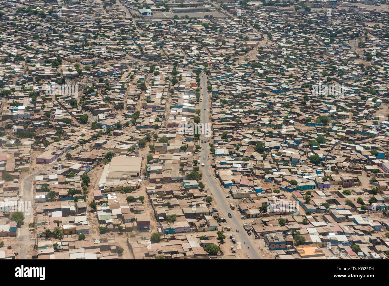 Vue aérienne de Djibouti sur la corne de l'Afrique, l'Afrique Photo Stock