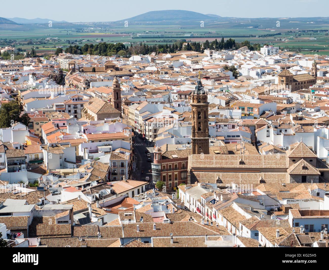 Vue depuis la forteresse perchée, Antequera, Andalousie, Espagne, Europe Photo Stock