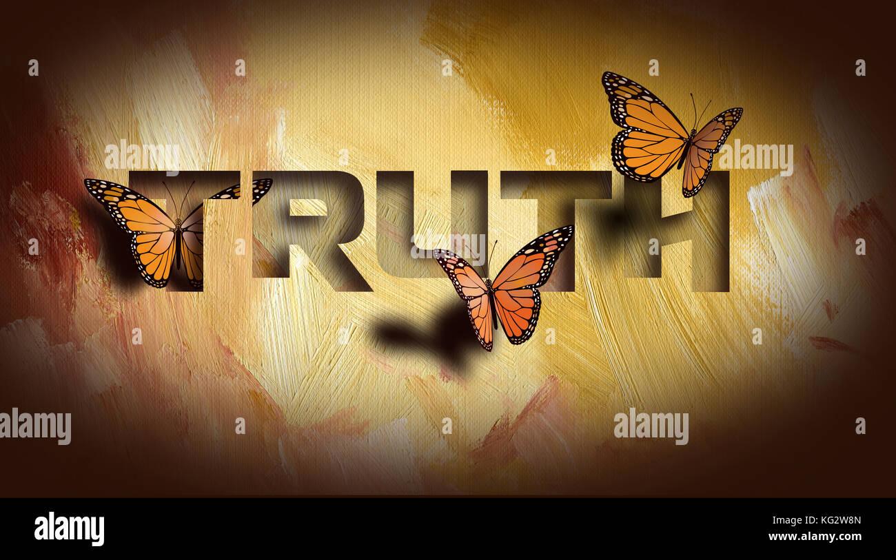 """Conception graphique de la conception chrétienne de la vérité vous libérera"""". art composé de type et d'illustration sur fond abstrait peint à la main. Banque D'Images"""