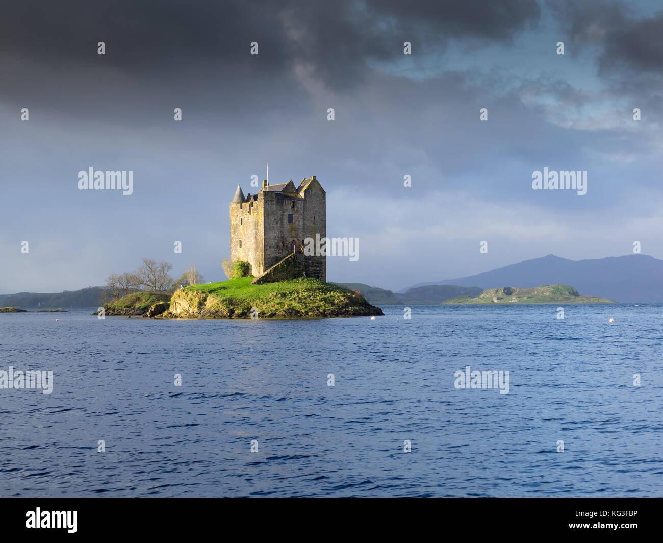 Château de stalker dans la lumière du matin, highlands, Scotland Photo Stock