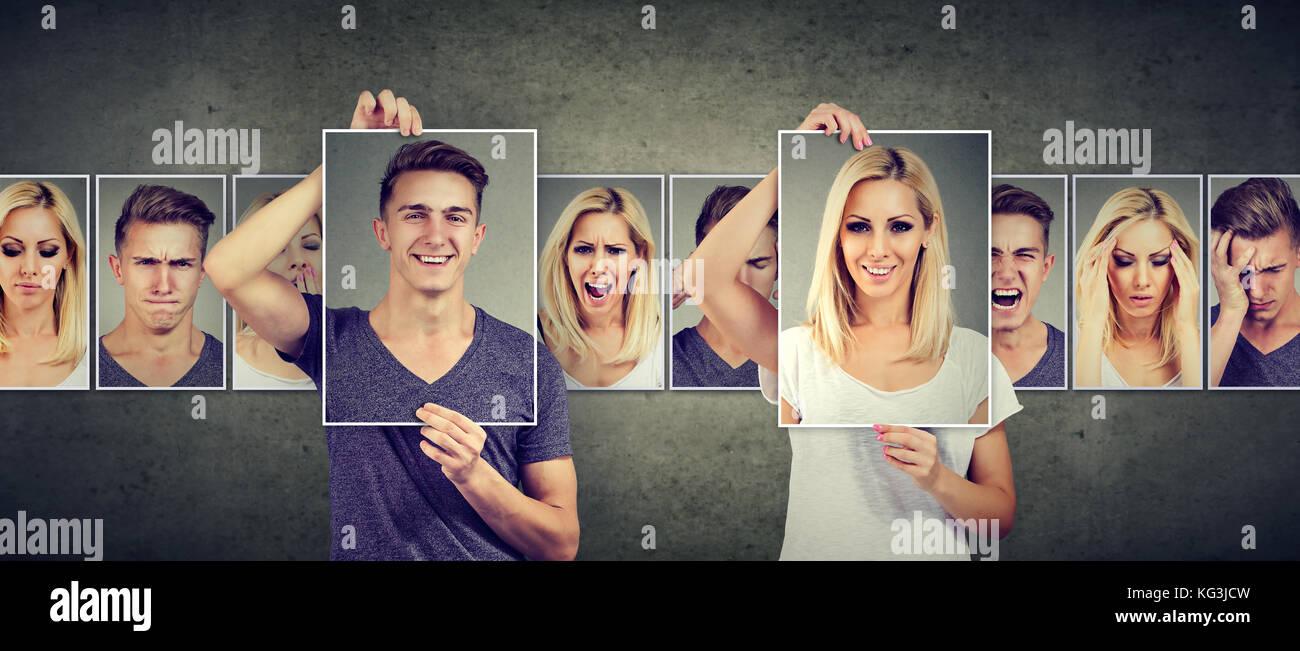 Relation équilibrée. concept femme et l'homme masqué exprimant différentes émotions Photo Stock