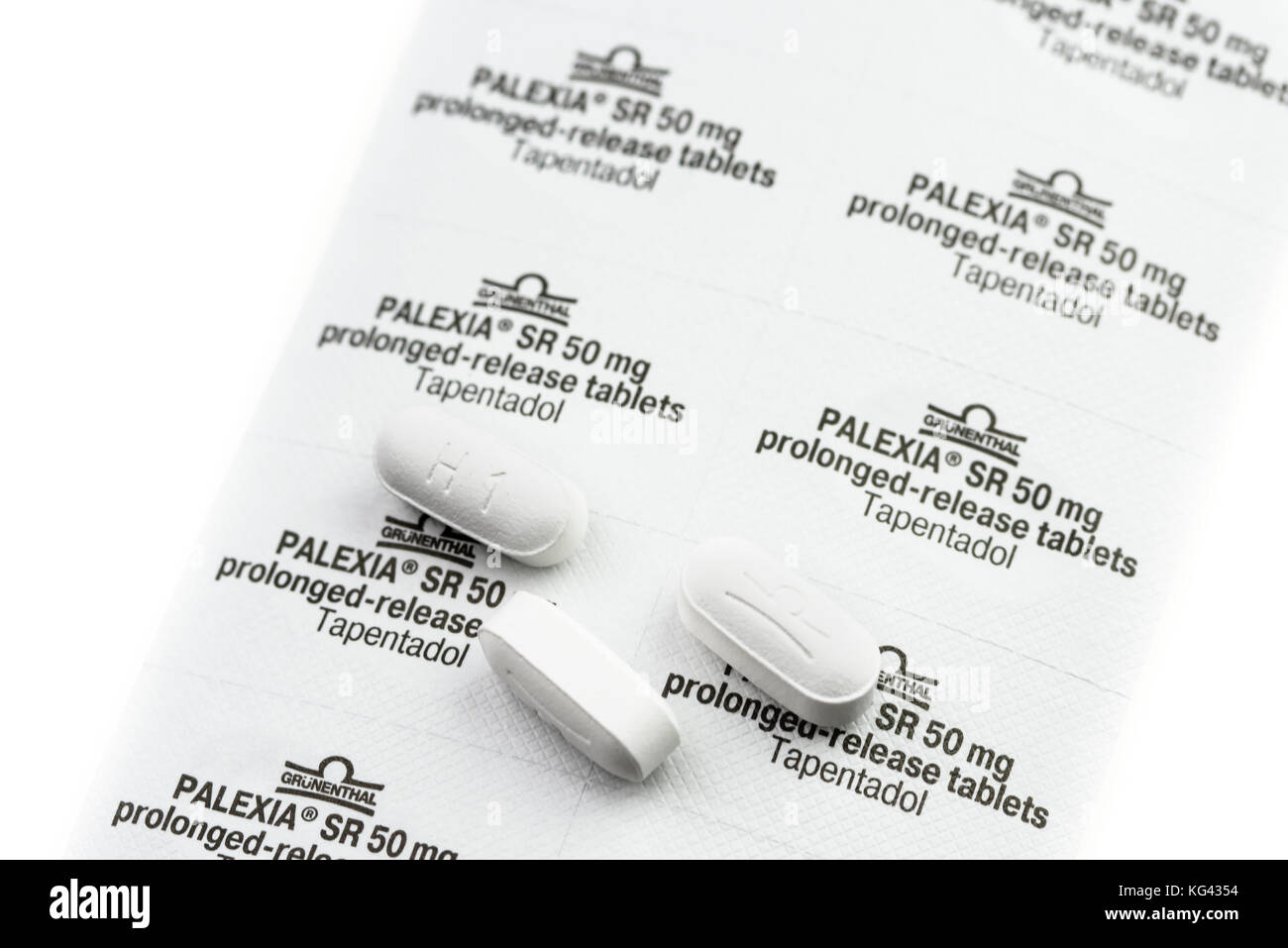 Palexia (Tapentadol) comprimés et blister. Une base aux opiacés pain killer. Photo Stock