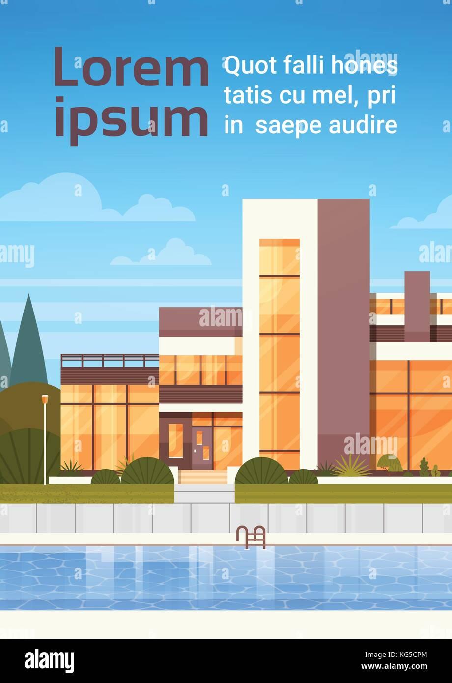 Villa de luxe avec piscine extérieur de maison moderne vertical ...