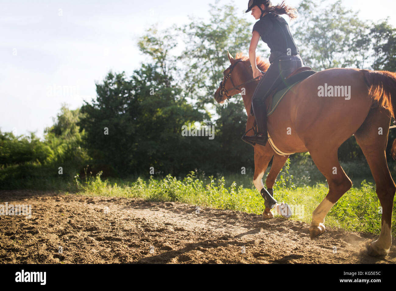 Portrait of young woman riding horse in countryside Photo Stock