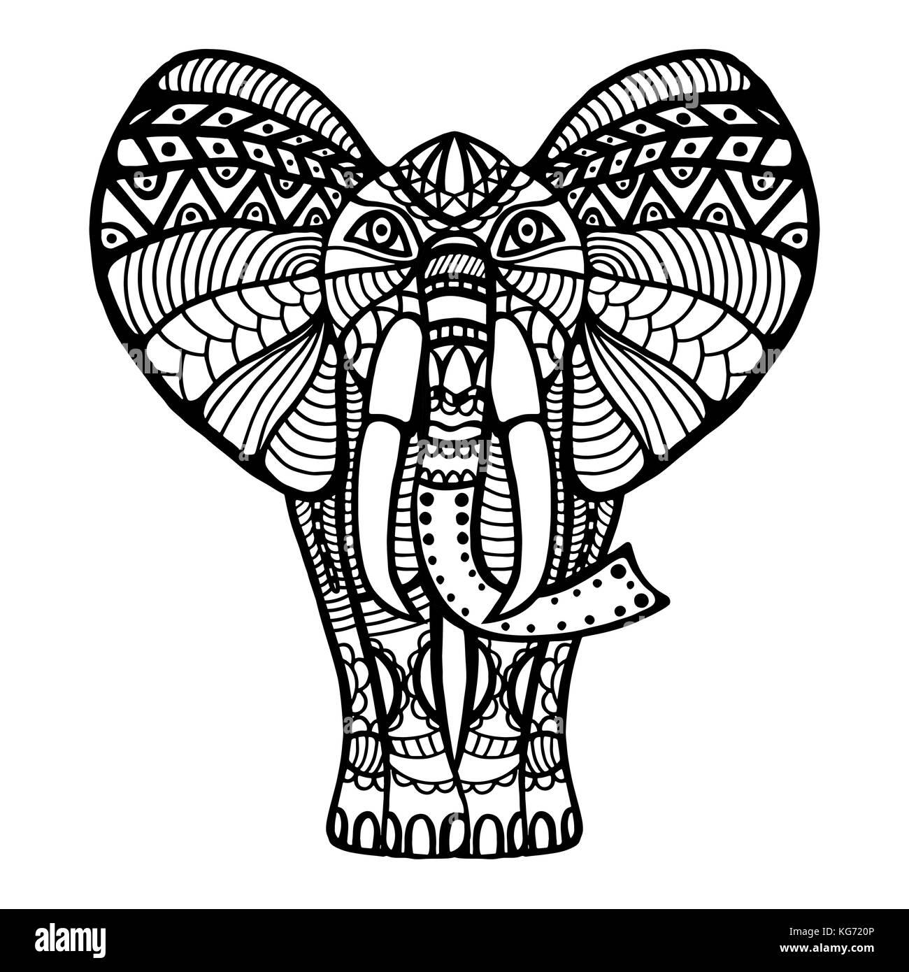 Belle Carte De Vœux Avec Elephant Cadre De Peacock Dans Vector