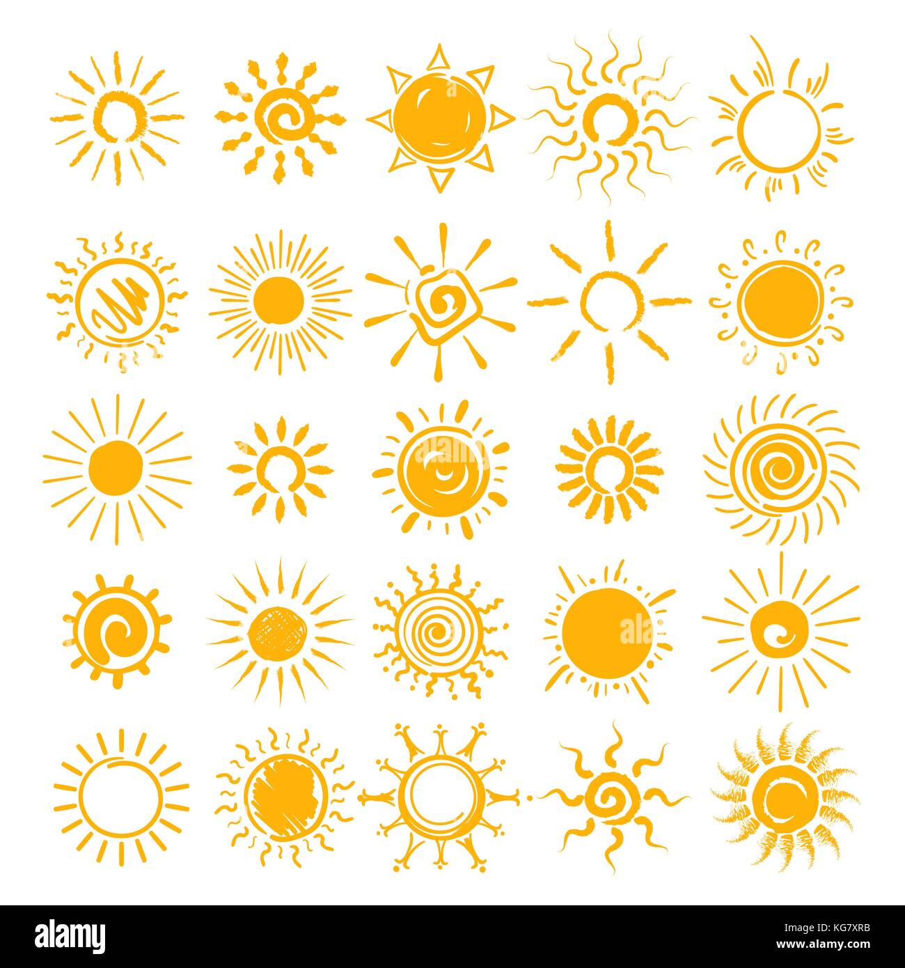 Vector illustration. soleil soleil, mains tirées des icônes cartoon doodle croquis d'été matin soleils isolé sur Illustration de Vecteur