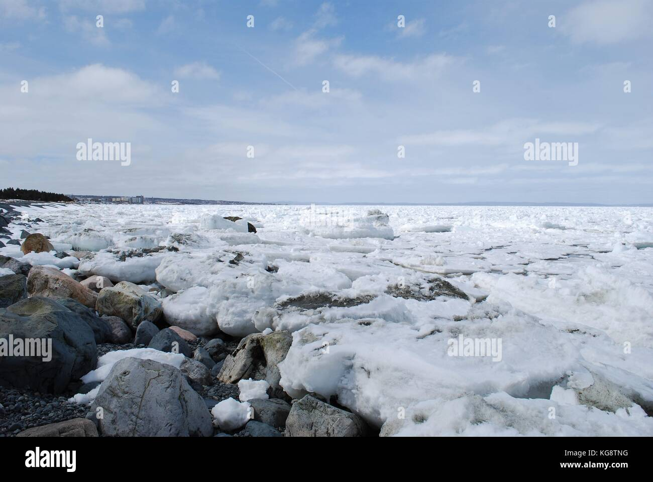Pack de glace dans la baie, Conception Bay South, à Terre-Neuve-Labrador Photo Stock
