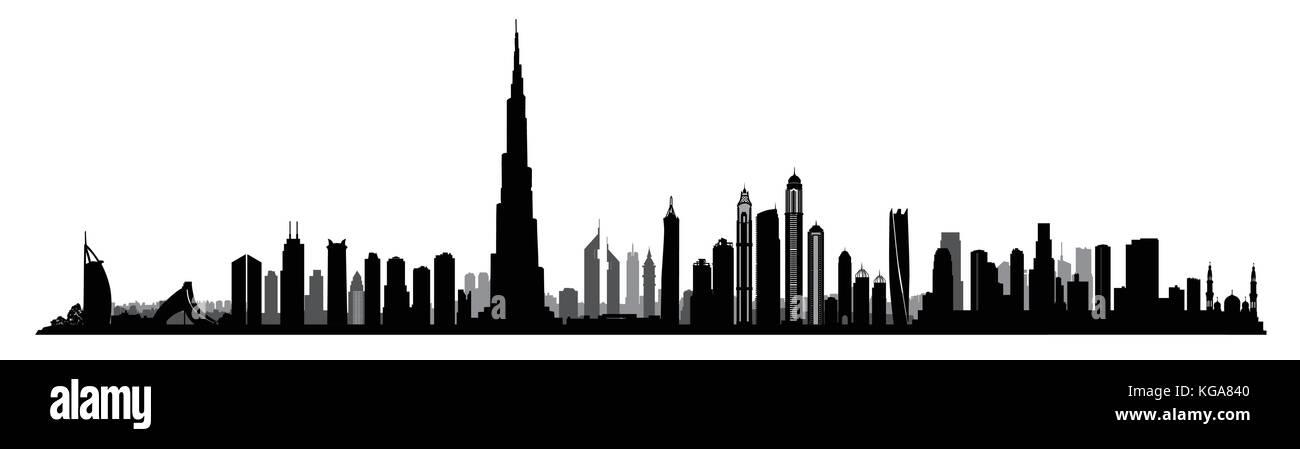 ville dubai skyline eau paysage urbain emirats arabes unis silhouette b timents gratte ciel. Black Bedroom Furniture Sets. Home Design Ideas