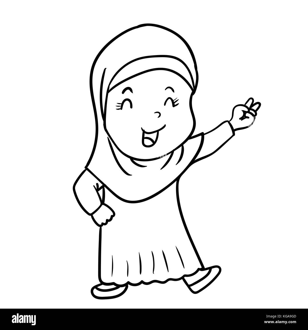 Dessin à La Main Jeune Fille Musulmane Caricature Avec La