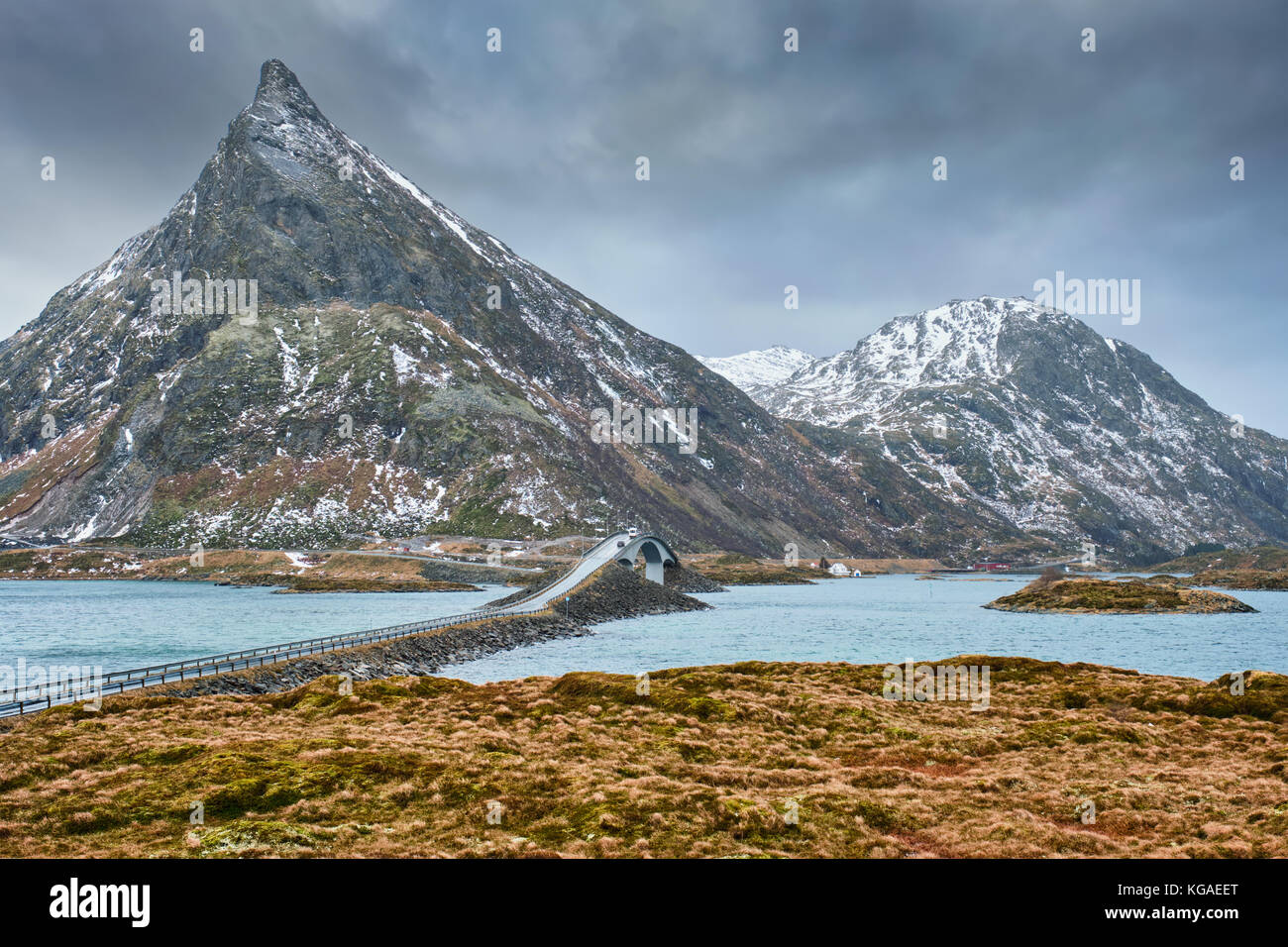 Ponts fredvang. îles Lofoten, Norvège Photo Stock