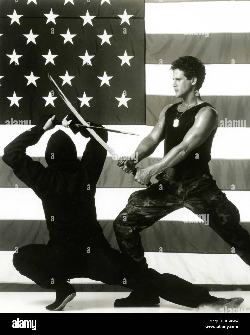 L'acteur Michael Dudikoff dans le Ninja américain film, 1985 Photo Stock