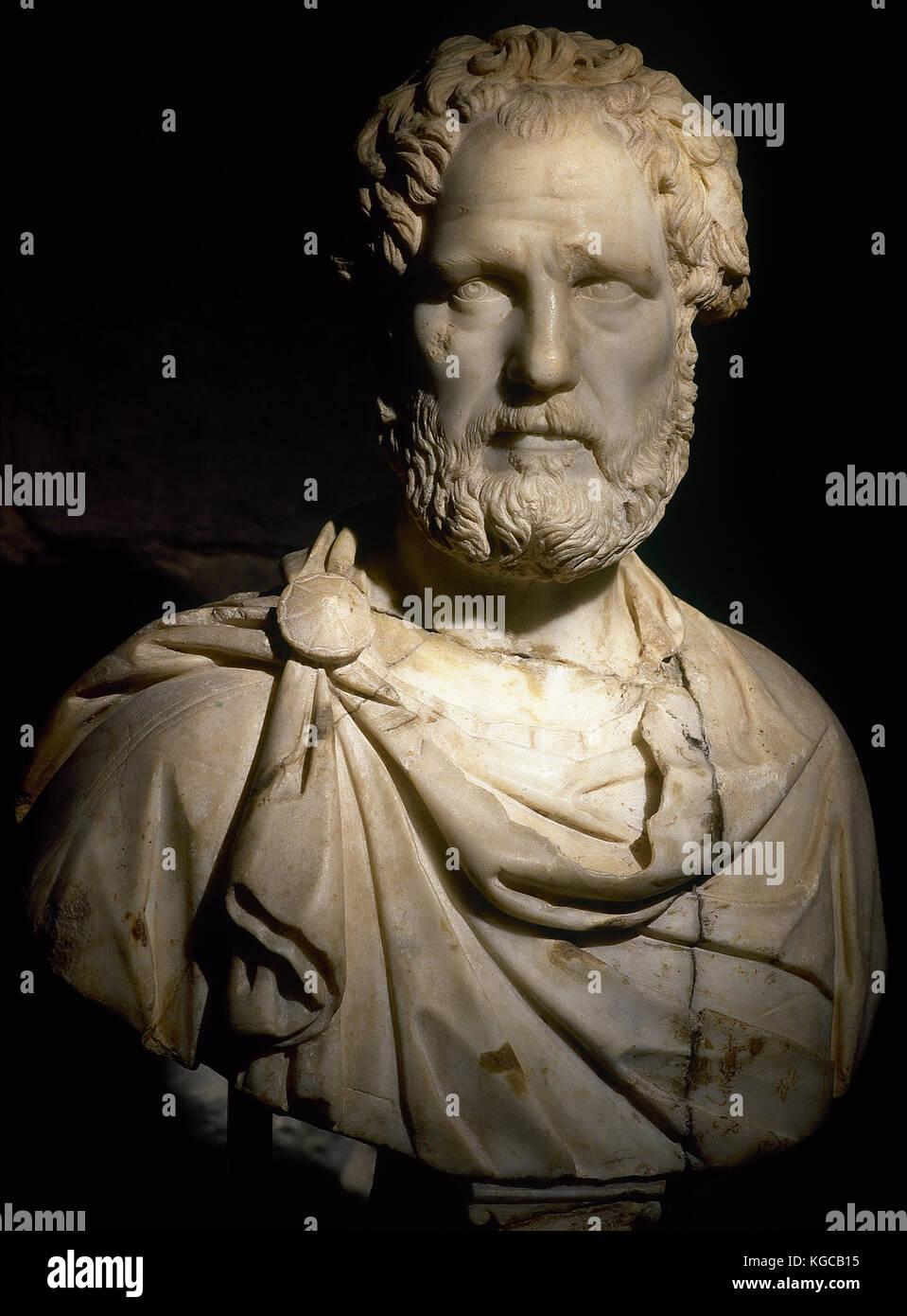 Buste romain probablement de l'empereur romain Antonin le Pieux (86-161 ad). En. 2ème ANNONCE de siècle. Photo Stock