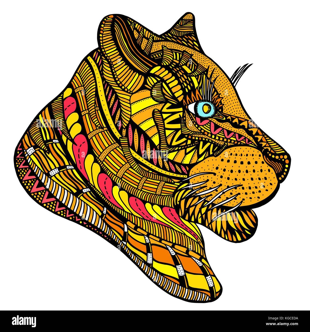 Coloriage Animaux Totem.Tete De Tigre Coloriage Antistress Adultes Couleur Hand Drawn