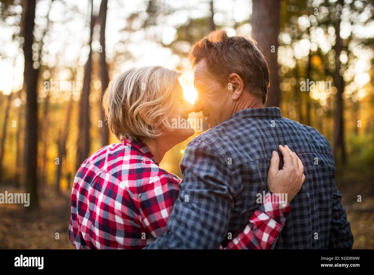 Couple en promenade dans une forêt d'automne. Photo Stock