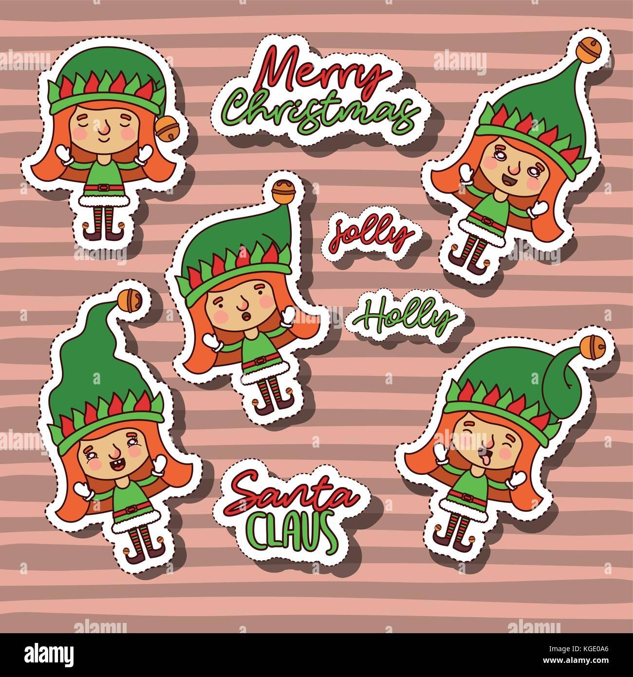 Joyeux Noël avec autocollants modèle de gnome et fille texte de Noël avec les lignes de couleur d'arrière-plan Illustration de Vecteur