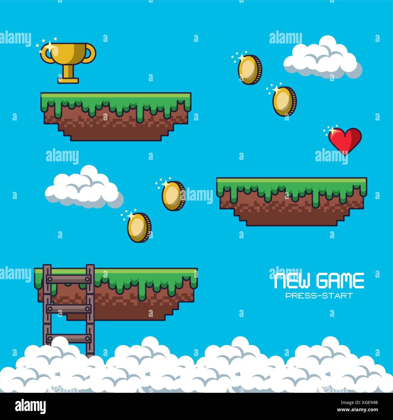 Paysage jeu pixélisé Illustration de Vecteur