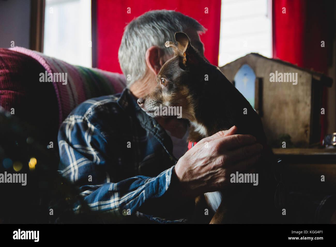 Un petit chien est assis sur les genoux d'un homme âgé. Photo Stock