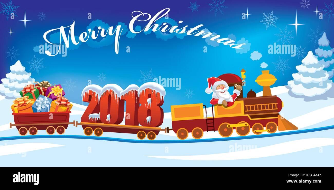 Nouvelle année 2018 et le père Noël dans un petit train avec des cadeaux, bonhomme de neige et l'arbre de Noël. Illustration de Vecteur