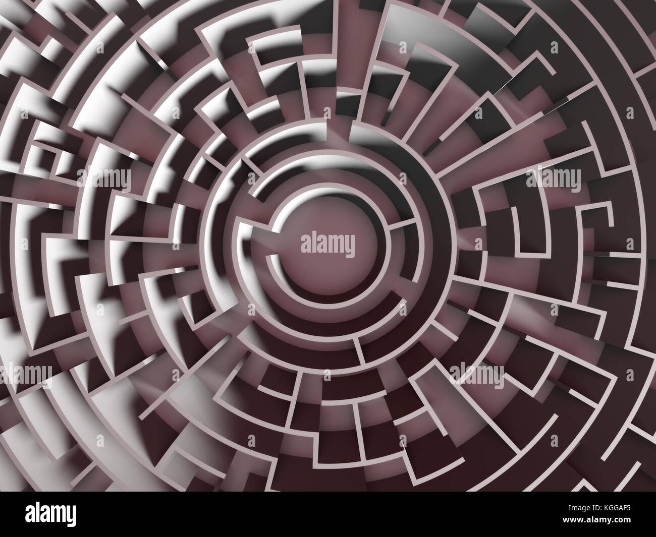 Grand labyrinthe circulaire (structure 3d illustration) Banque D'Images