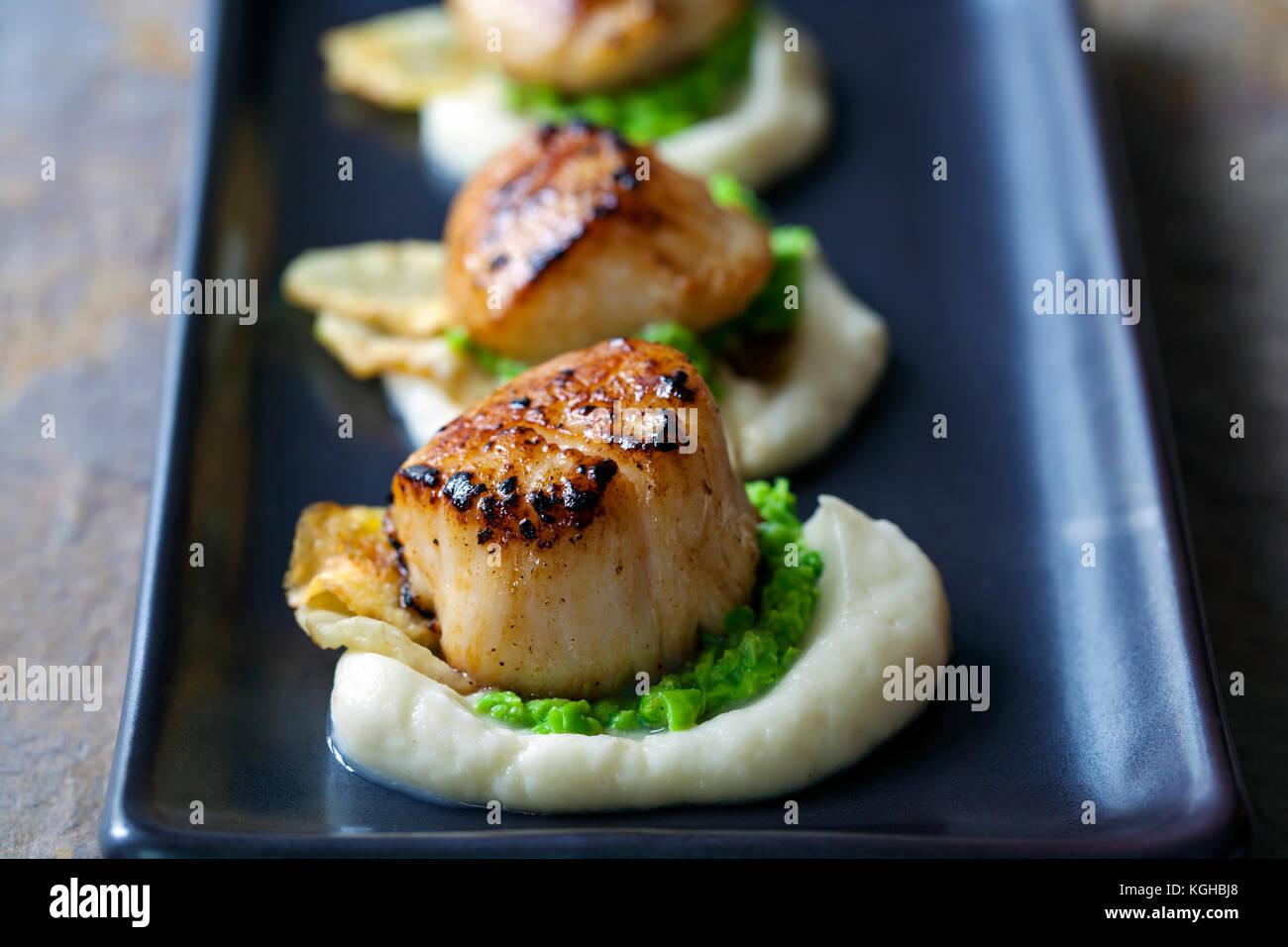 Les pétoncles avec purée de topinambour et purée de pois Photo Stock